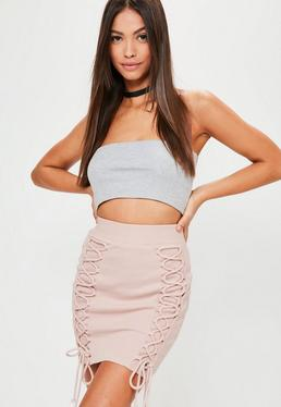 Pink Ribbed Double Lace Up Mini Skirt