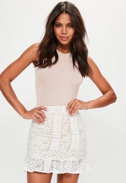 Premium Nude Embroidered Frill Hem Mini Skirt
