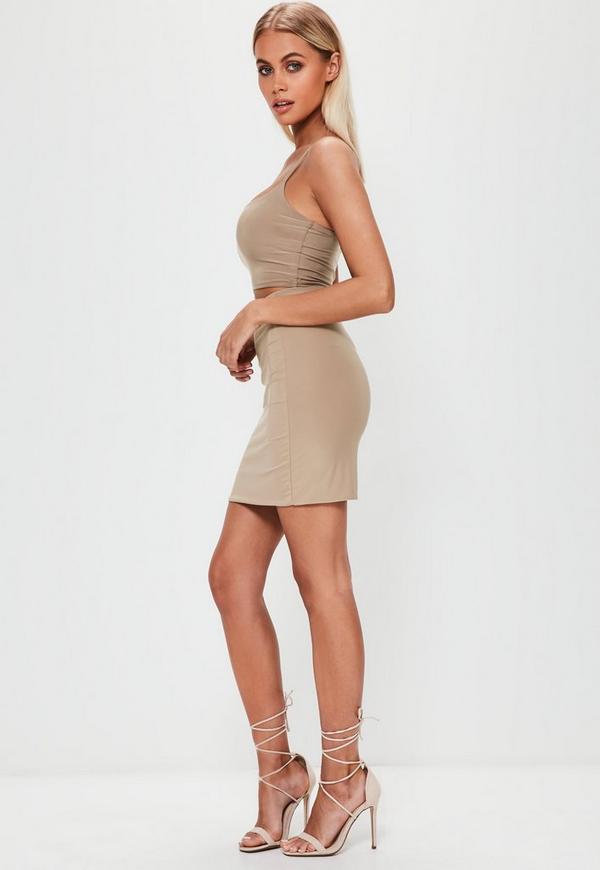 Nude Slinky Mini Skirt | Missguided