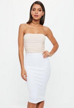 White Scuba Midi Skirt