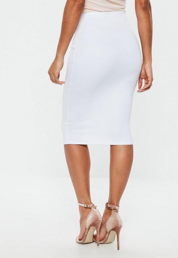 white scuba midi skirt missguided
