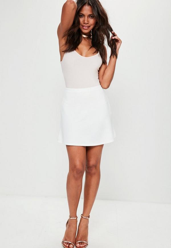 White Scuba A Line Mini Skirt | Missguided