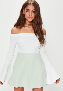 Green Scuba A Line Mini Skirt