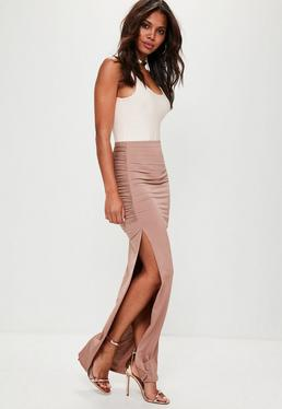 Nude Slinky Ruched Side Split Maxi Skirt