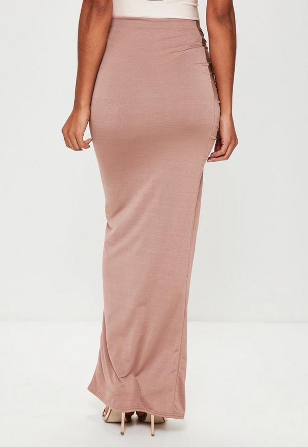 Nude Slinky Ruched Side Split Maxi Skirt | Missguided