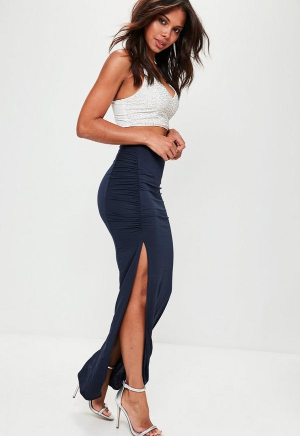 Navy Slinky Ruched Side Split Maxi Skirt