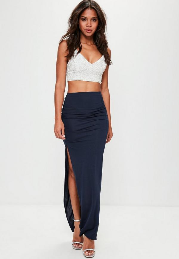 Navy Slinky Ruched Side Split Maxi Skirt Missguided