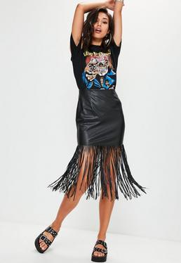 Mini jupe noire en simili cuir à franges