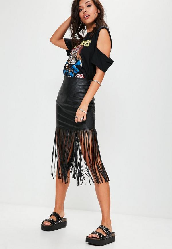 Black Faux Leather Fringe Mini Skirt | Missguided