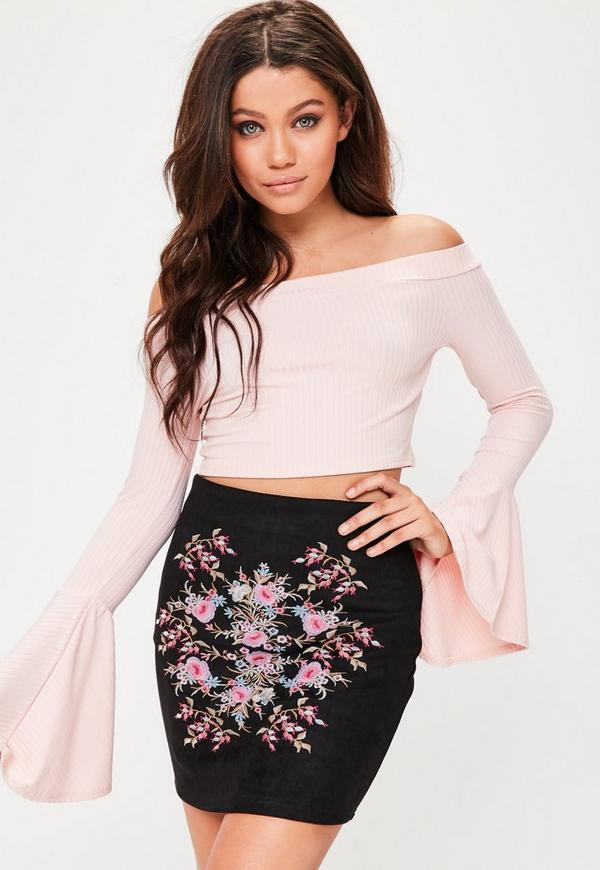 Black Faux Suede Embroidery Mini Skirt
