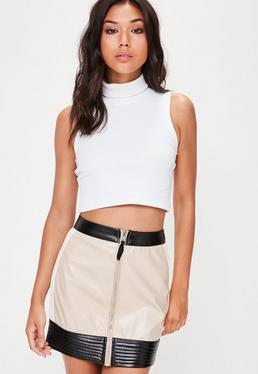 Nude Vinyl Biker Mini Skirt