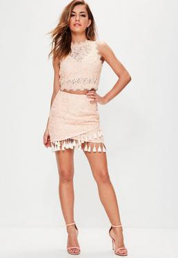 Nude Cornelli Lace Tassel Hem Mini Skirt