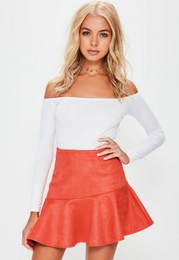 Red Faux Suede Asymmetric Hem Mini Skirt