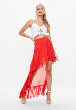Roter High-Low Chiffon Rock