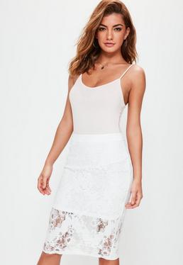 Premium White Lace Midi Skirt
