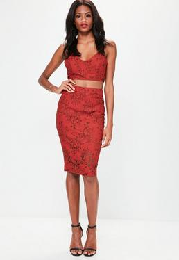 Red Lace Printed Midi Skirt