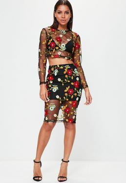 Black Mesh Floral Embroidered Midi Skirt