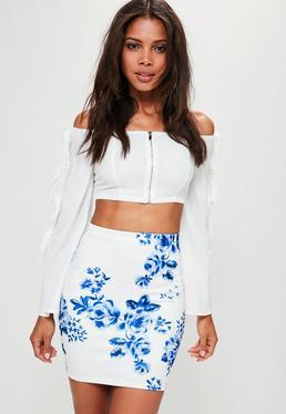 White Floral Print Scuba Mini Skirt