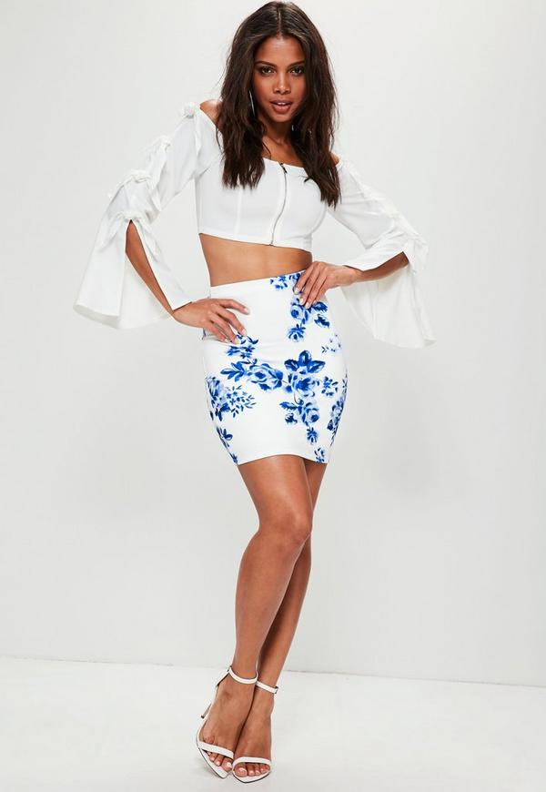 White Floral Print Scuba Mini Skirt | Missguided