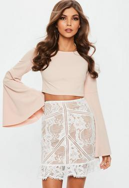White Frill Hem Lace Mini Skirt