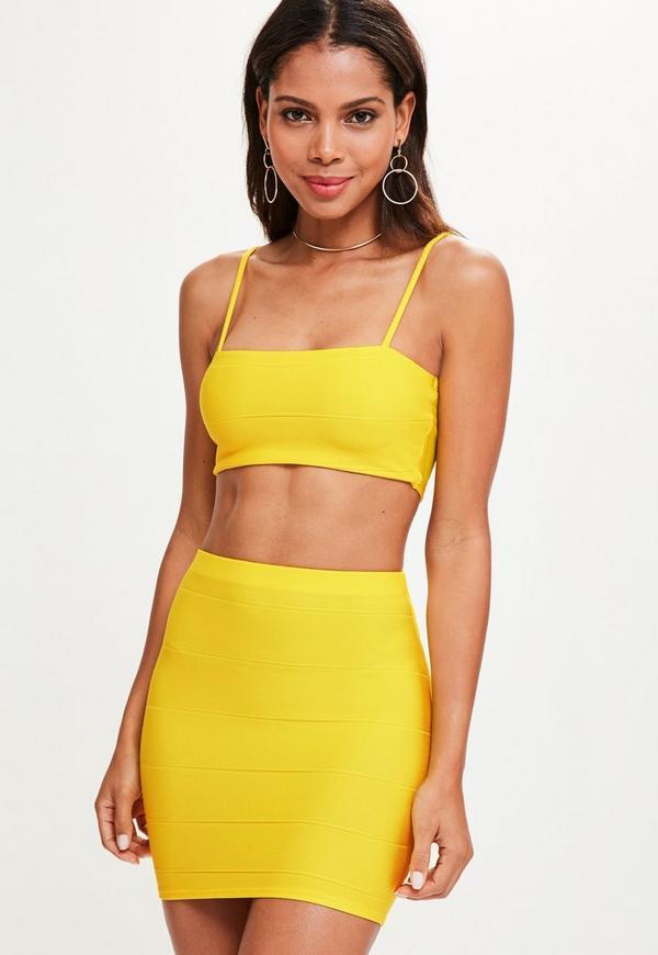 Yellow Bandage Mini Skirt