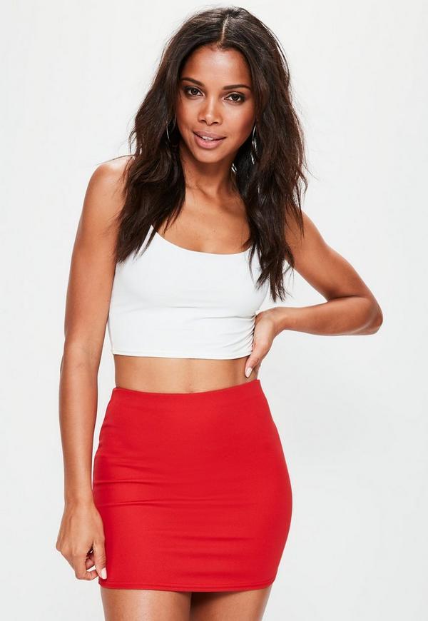 Red Curve Hem Scuba Mini Skirt