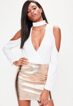 Rose Gold Faux Leather Mini Skirt