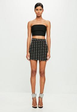 Peace + Love Black Stud Detail Faux Suede Mini Skirt