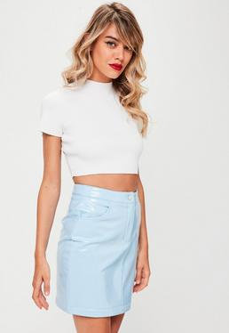 Blue Vinyl Mini Skirt