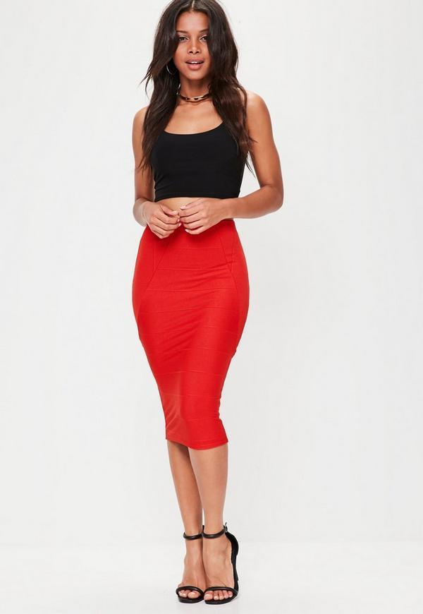 Red Bandage Midi Skirt