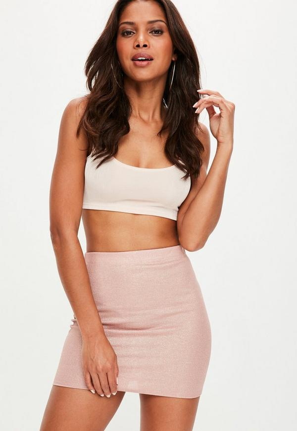 Nude Metallic Ribbed Mini Skirt