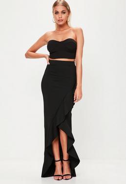 Black Scuba Frill Maxi Skirt