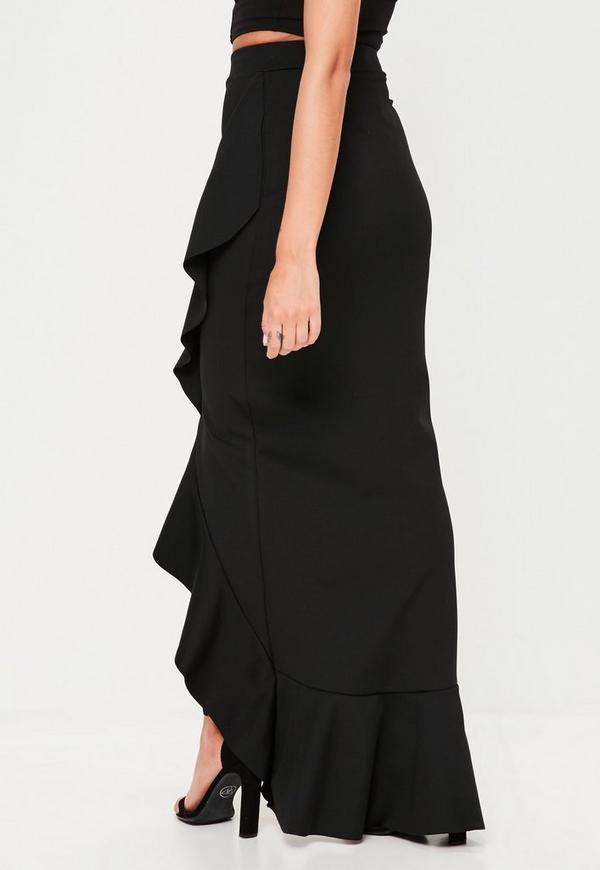 Black Scuba Frill Maxi Skirt Missguided