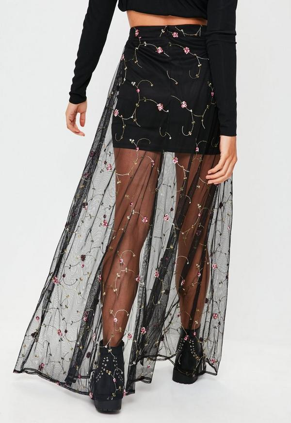 Black Mesh Floral Embroidered Maxi Skirt Missguided