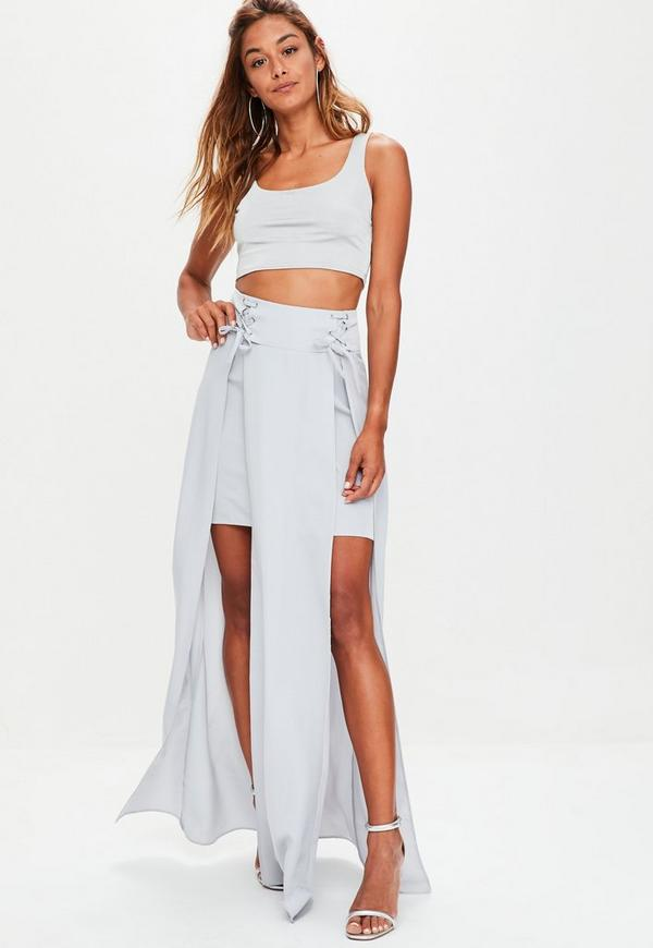 Grey Corset Waist Split Front Maxi Skirt