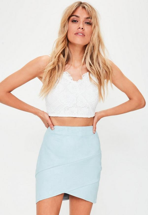 Blue Faux Suede Wrap Mini Skirt