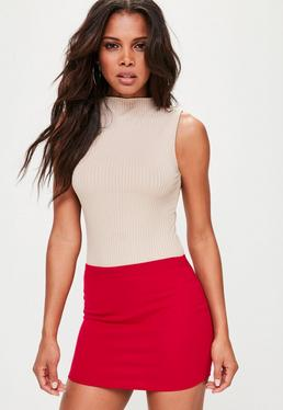 Red Ponte Curve Hem Mini Skirt