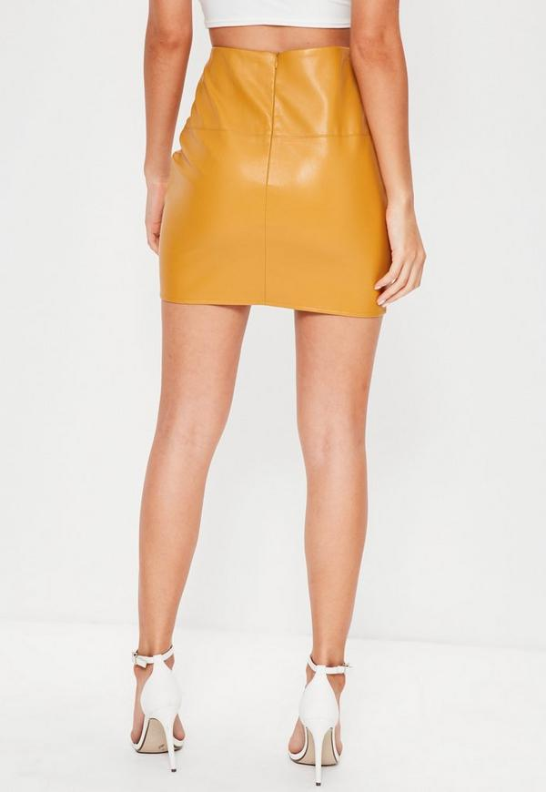 Yellow Faux Leather Mini Skirt | Missguided