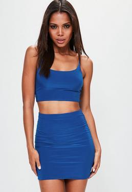 Blue Slinky Mini Skirt