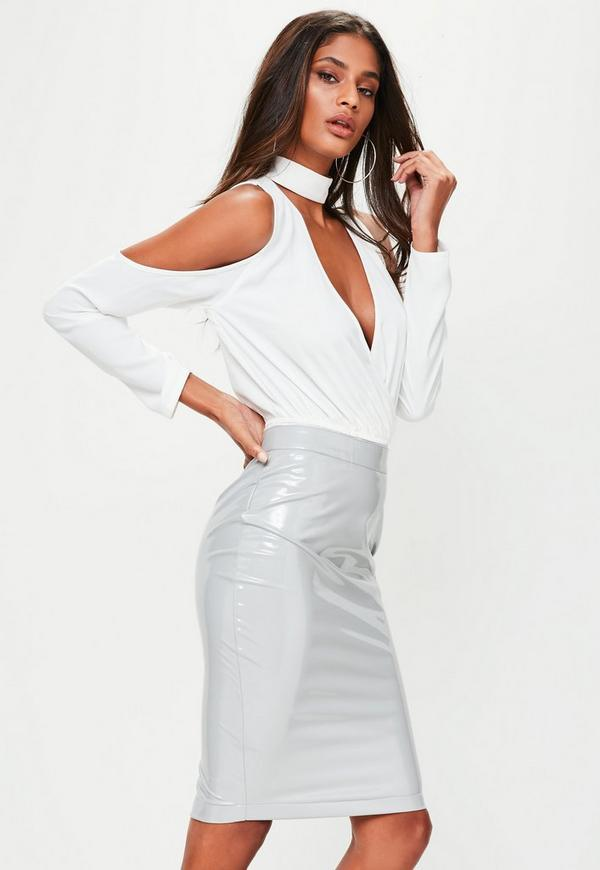 grey vinyl midi skirt missguided
