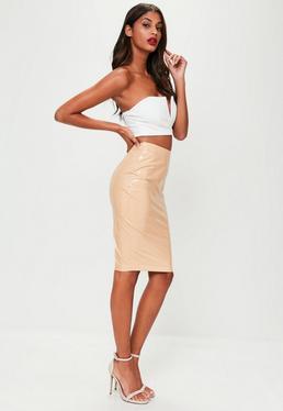 Nude Vinyl Midi Skirt