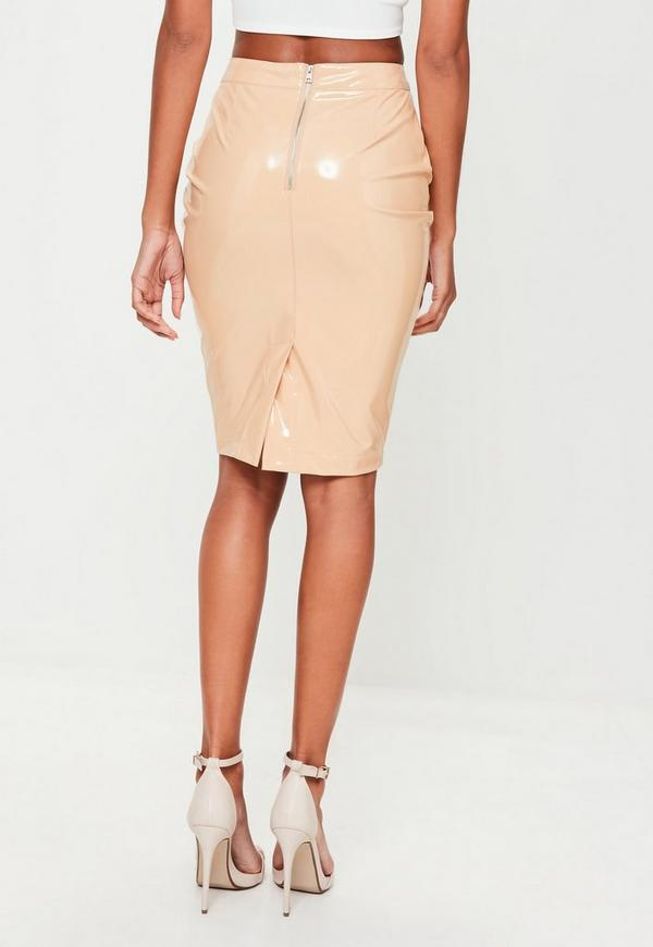 vinyl midi skirt missguided