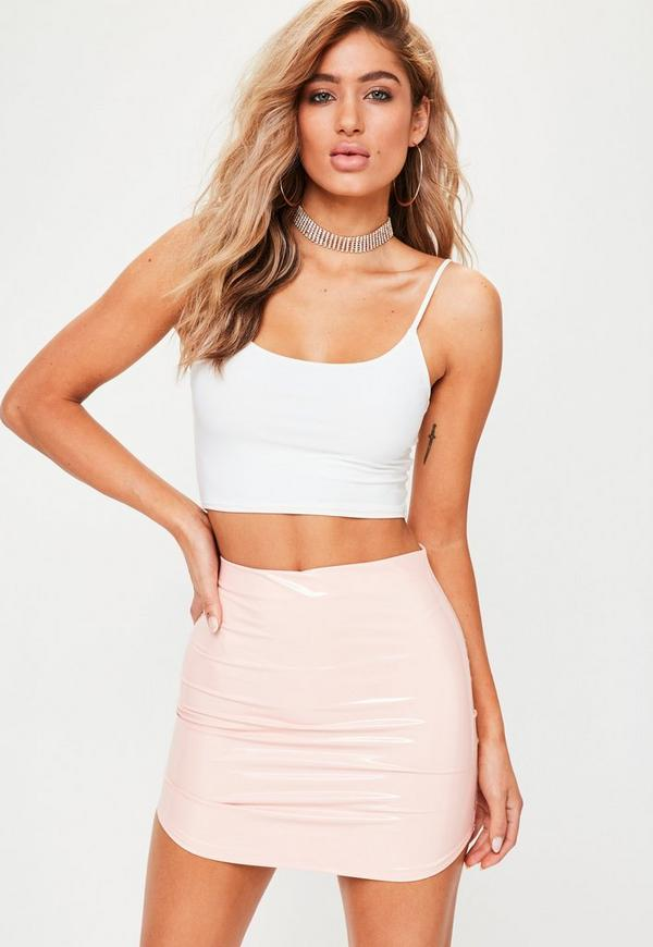Pink Vinyl Curve Hem Mini Skirt