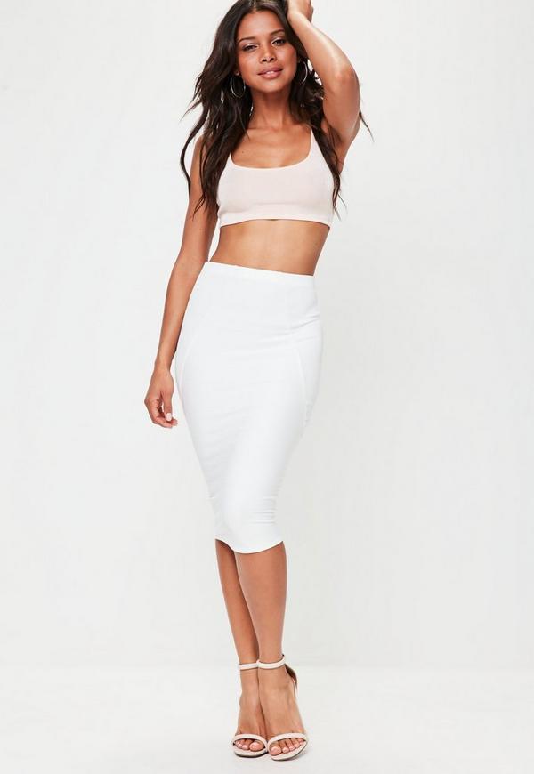white bandage midi skirt missguided