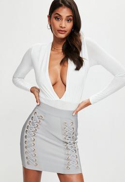 Premium Grey Lace Up Bandage Mini Skirt