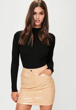 Nude Vinyl Mini Skirt