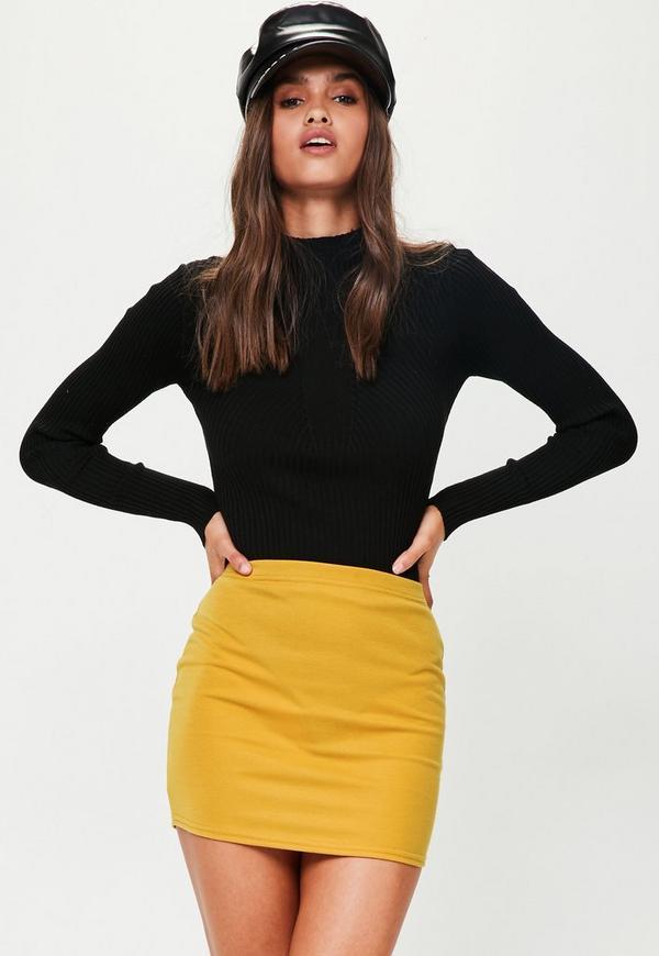 Yellow Ponte Curve Hem Mini Skirt