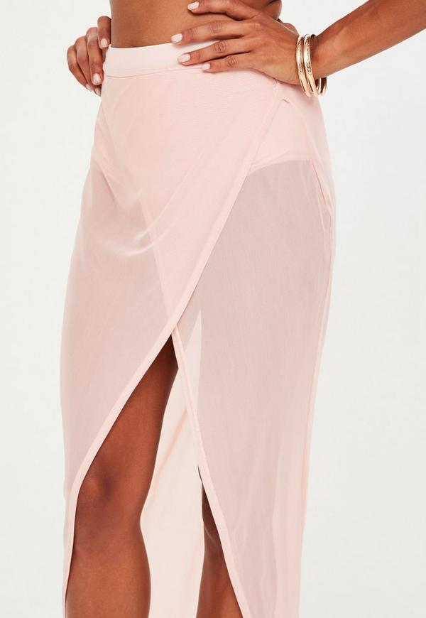 Pink Mesh Wrap Over Maxi Skirt | Missguided