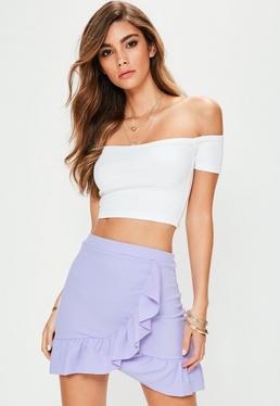 Purple Ruffle Hem Mini Skirt
