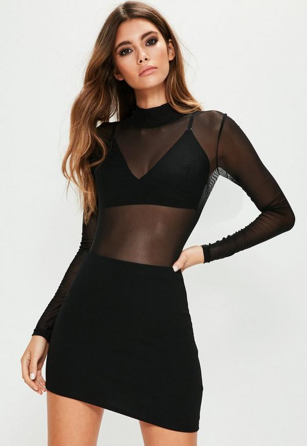 Black Asymmetric Hem Mini Skirt